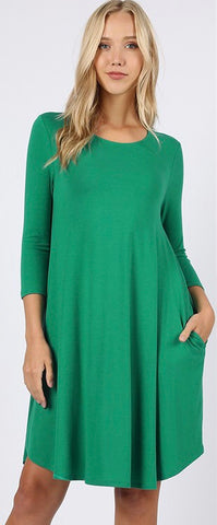 Kelly Green 3/4 sleeve dress in sizes S-XL