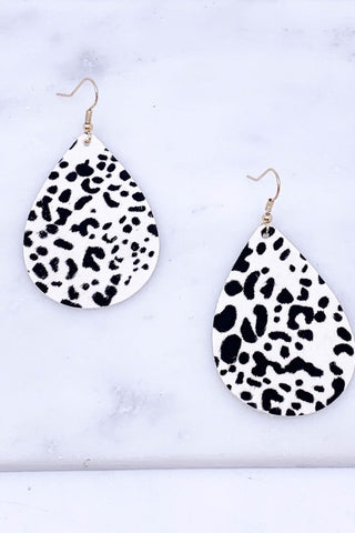 Black & White Leather Leopard Earrings