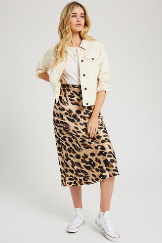 Leopard print midi skirt in sizes S-L
