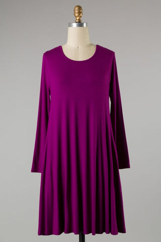 Plus Size Magenta Midi Dress with Pockets