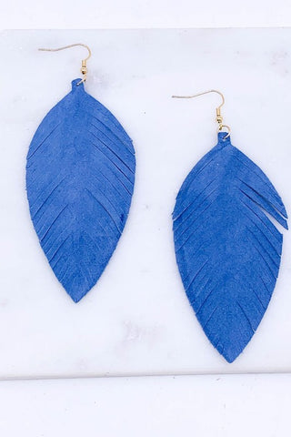 Genuine leather fringe earrings in Cobalt Blue
