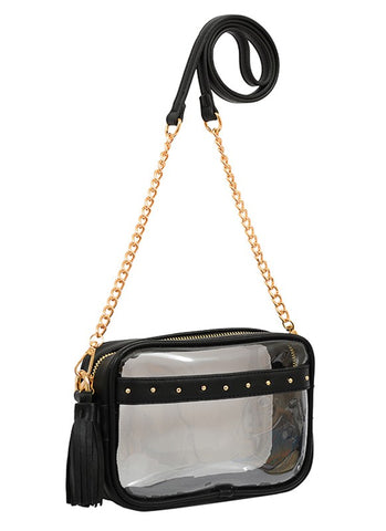 Clear game day bag with black and gold accents
