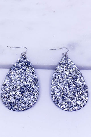 Silver Glitter Encrusted Teardrop Earrings
