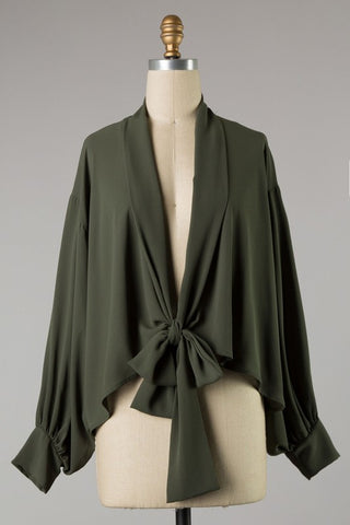 Olive top with shawl collar and deep V in S-L