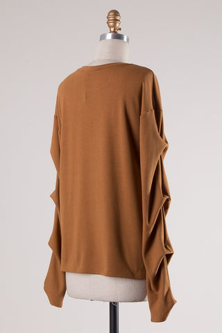 Long Sleeve top with draped sleeve detail in camel S-L