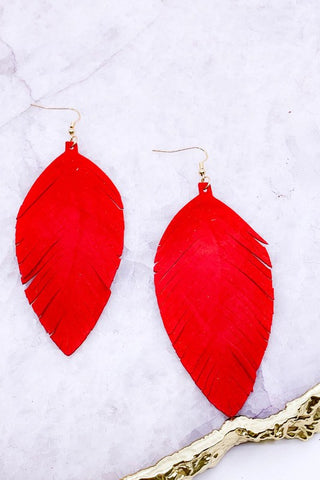 Genuine leather fringe earrings in Red