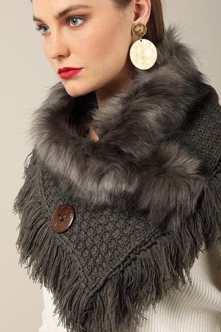 Grey basket weave and soft faux fur with frayed fringe and wood button accent wrap