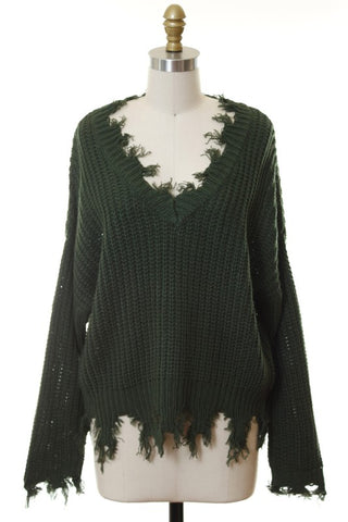 Distressed fringe hunter green sweater in sizes S-L