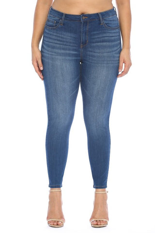 Plus size medium wash Cello skinny jeans in sizes 14-22