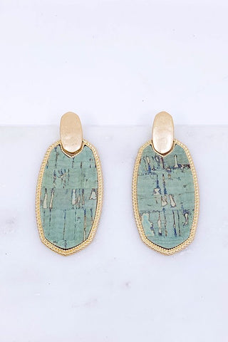 Cork post drop earrings in mint