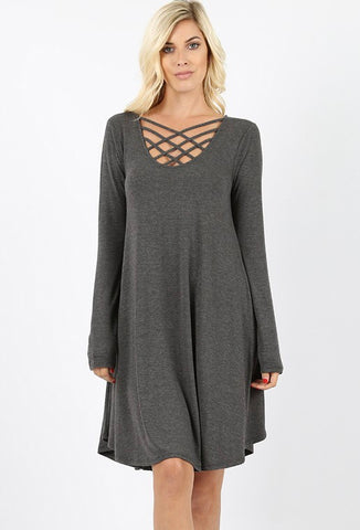 Long sleeve charcoal dress with lattice detail in S-XL