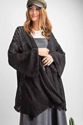 Black Open Knit Sweater Cardigan with Bell Sleeves S-L