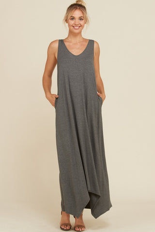 Plus size grey maxi dress