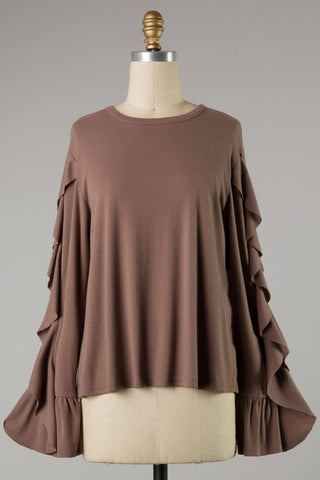 Mocha long sleeve top with ruffle trim S-L