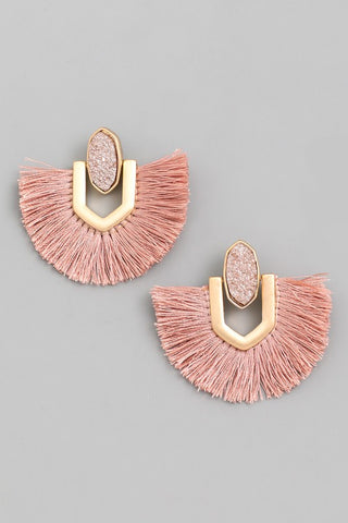Blush fringe earrings with gold accent