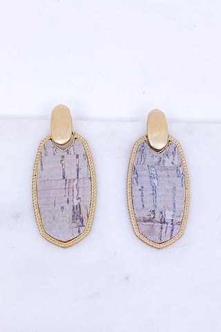 Cork post drop earrings in grey