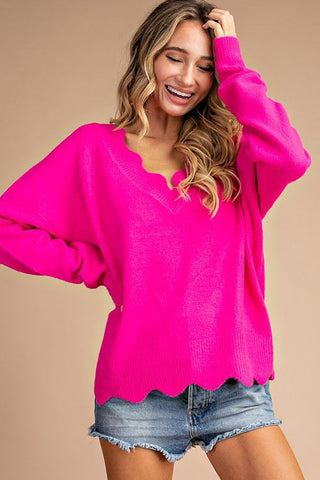 Warm & Cozy Fuchsia Sweater with Scallop Neckline & Hemline in S/M-M/L