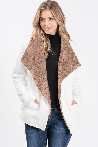 Faux fur lined jacket in sizes S-XL