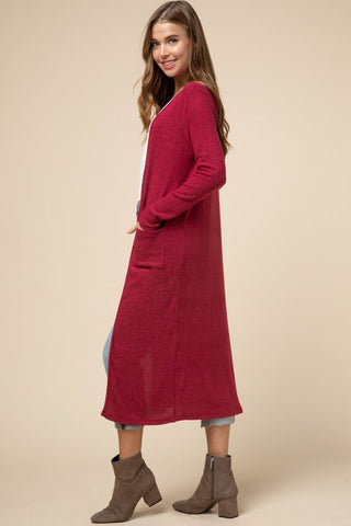Open front crimson cardigan with pockets in S-L