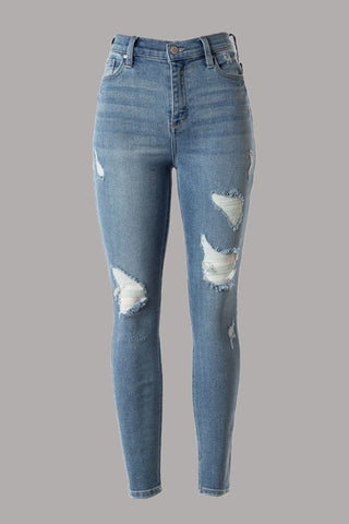 High-waist light wash distressed skinny jeans in sizes 1-13