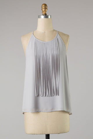 Sleeveless top with fringe detail in silver S-M