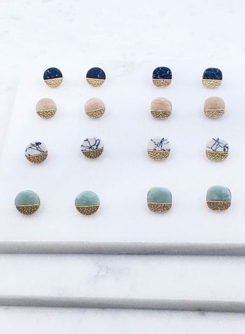 Semi precious stone post earrings
