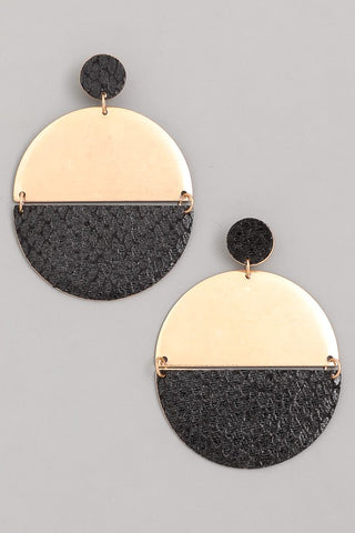 Round gold earrings with black accent