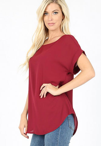 Cabernet top with rolled sleeves in S-XL