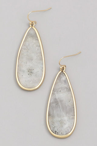 Semi-precious stone drop earrings in labradorite