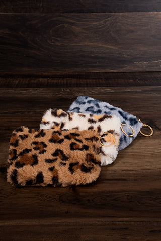 Fluffy animal print faux fur coin purse with zipper and key chain ring in taupe