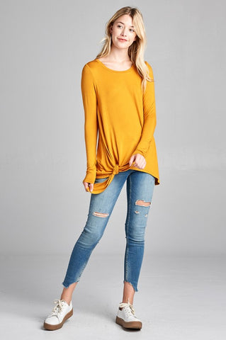Mustard Lightweight Long sleeve top with tie at waist S-L