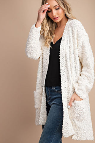 Cozy chunky knit open front, super soft popcorn cream Cardigan in sizes SM/ML