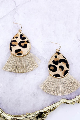 Animal print drop earrings with fringe