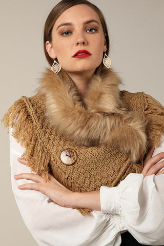 Taupe basket weave and soft faux fur with frayed fringe and wood button accent wrap
