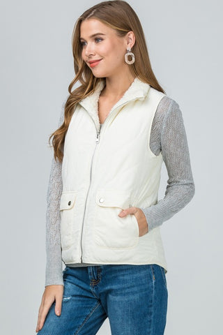 Reversible Quilted/Shearling Vest in Cream