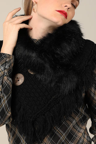 Black wrap with soft faux fur with frayed fringe and wood button accent