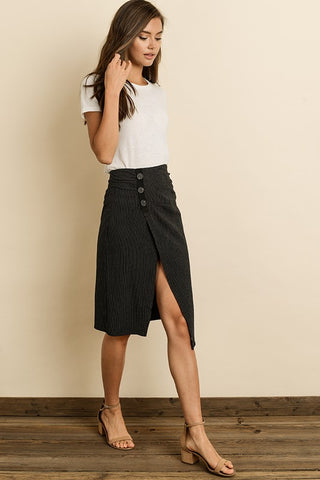 Black midi skirt with front split S-L