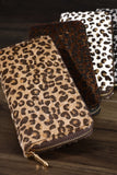 Animal print faux fur zip wallet in ivory