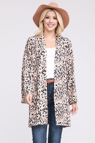 Leopard print knit kimono cardigan in sizes S-3X