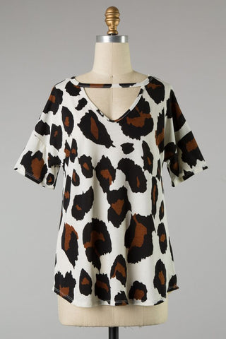 Plus size leopard print loose fit top