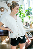 Cream short sleeve top with button detail and tie front S-L