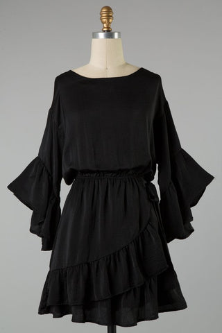Black dress with ruffle bell sleeves in sizes S-L