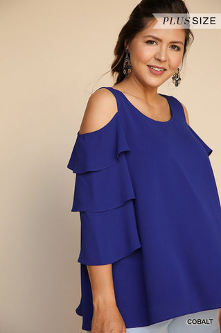 PLUS SIZE COBALT OPEN SHOULDER TOP in XL-2XL
