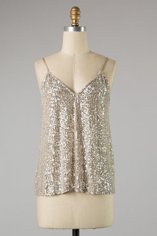 CHAMPAGNE SEQUIN TOP in S-L