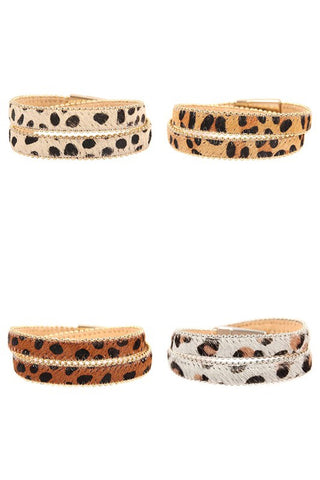 ANIMAL PRINT LEATHER DOUBLE WRAP BRACELET