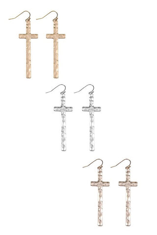 CROSS DROP EARRINGS IN GOLD OR ROSE GOLD