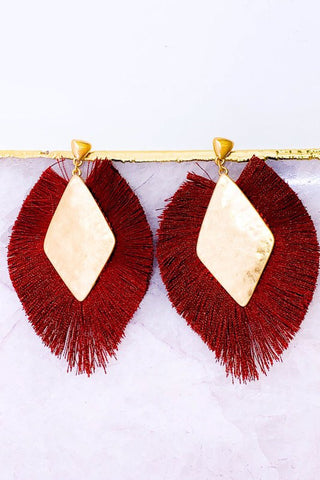 TASSEL STATEMENT EARRINGS IN CRIMSON OR GREY