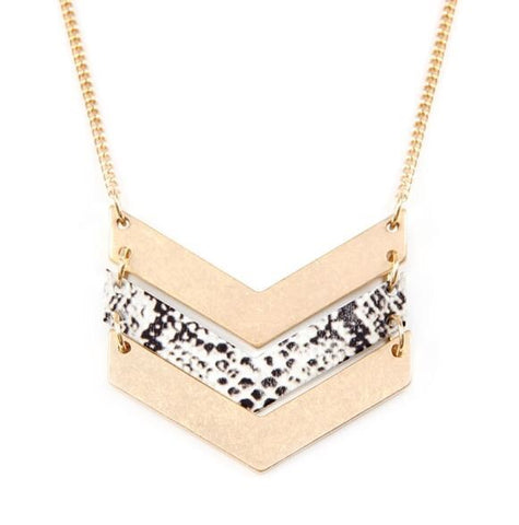 CHEVRON WITH SNAKESKIN NECKLACE