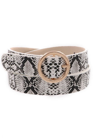 FAUX LEATHER SNAKE PRINT BELT
