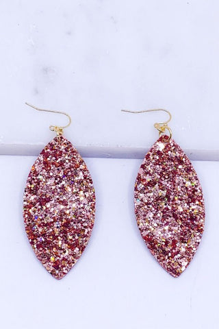 GLITTER ENCRUSTED EARRINGS IN GOLD OR ROSE GOLD